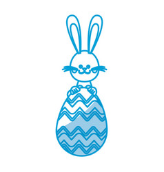 Happy easter rabbit with cute egg vector