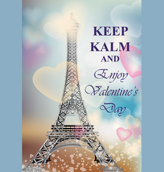 happy valentine day romantic card with balloons vector image