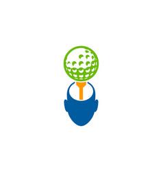 head golf logo icon design vector image