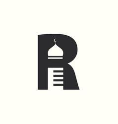 initial letter r islamic logo design vector image
