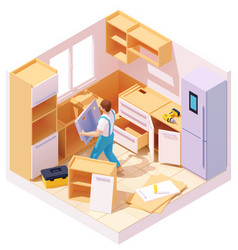 Isometric kitchen furniture installation vector