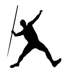 javelin throw male athlete black silhouette vector image