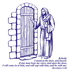 Jesus christ son of god knocking at the door vector