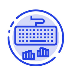 Keyboard interface type typing blue dotted line vector