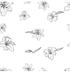 lily flowers hand drawn in contour seamless vector image