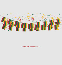 lithuania garland flag with confetti vector image