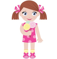 little girl with sugar candies vector image