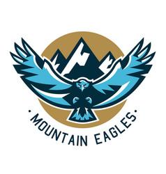 Logo eagle hawk flying in mountains wild vector