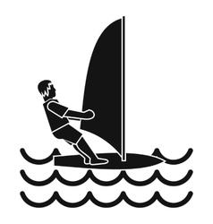 Man on windsurf icon simple style vector