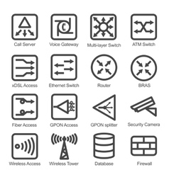 Network Equipment Icon Set vector image