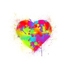 Paint splatter heart vector