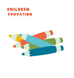 Pencils or pens in different colors child vector