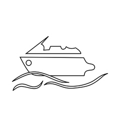 Powerboat icon in outline style vector