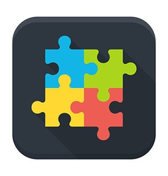 Puzzle flat app icon with long shadow vector image