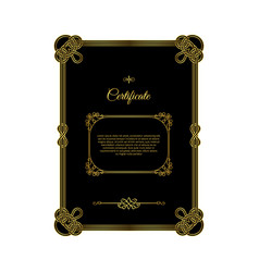 retro golden frame certificate on black vector image vector image