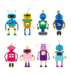 Robots for girls and boys isolated on white vector