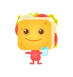 Sandwich Character With Glass Of Milk vector image