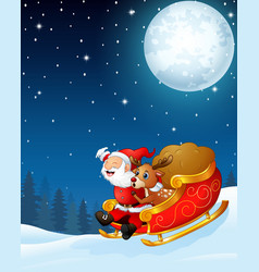 Santa claus and a reindeer riding his sleigh and c vector