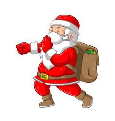 Santa clause bringing big bag gift vector