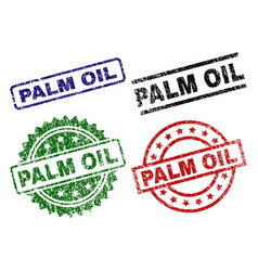 Scratched textured palm oil stamp seals vector