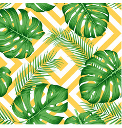 seamless exotic pattern with tropical leaves on a vector image