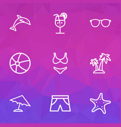 Season outline icons set collection of volleyball vector