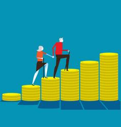 Senior money steps elder saving money concept vector