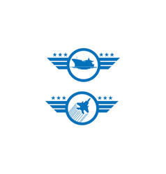 set air force and navy logos in blue de vector image