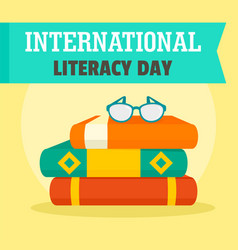 Set books literacy day background flat style vector