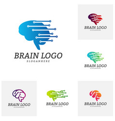 Set of brain tech logo template tech brain mind vector