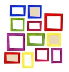 Set of color wooden frames on white background vector image