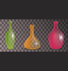 Set of transparent decorative vases of different vector