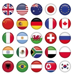 set round flags world top states vector image