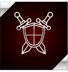 Silver line medieval shield with crossed swords vector