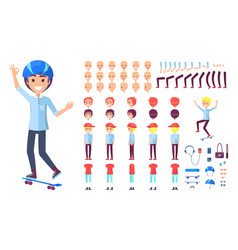 skater constructor collection vector image