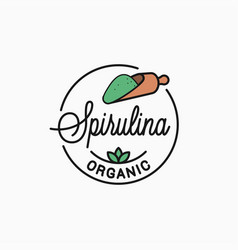 Spirulina logo round linear food vector
