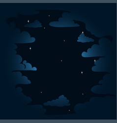starry sky in the clouds vector image