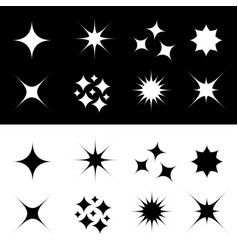 Stars sparkles sign symbol shape set cute vector