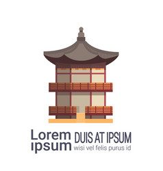 Traditional korea palace or temple landmark vector