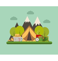 Tramping and camping concept background vector