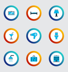 travel icons colored set with bed tv toilet and vector image