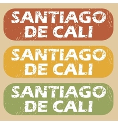 Vintage Santiago De Cali stamps vector