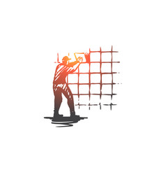 wall tiling house repair worker concept hand vector image