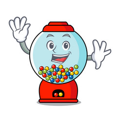Waving gumball machine character cartoon vector