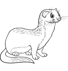 weasel animal cartoon coloring book vector image