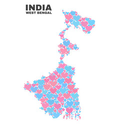 West bengal state map - mosaic of love hearts vector