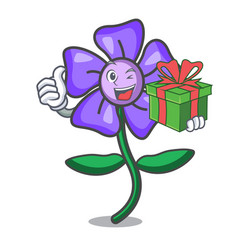 With gift periwinkle flower mascot cartoon vector