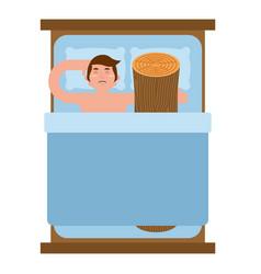 Wood log in bed bad sex vector