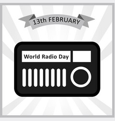 World radio day february 13th international radio vector