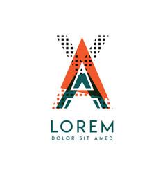 Xa modern logo design with orange and green color vector